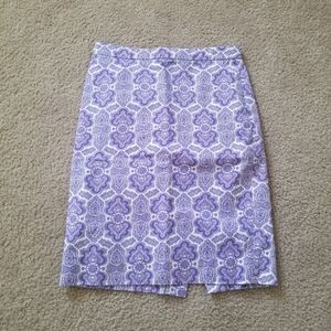 J. Crew purple pattern No. 2 Pencil Skirt, Size 00